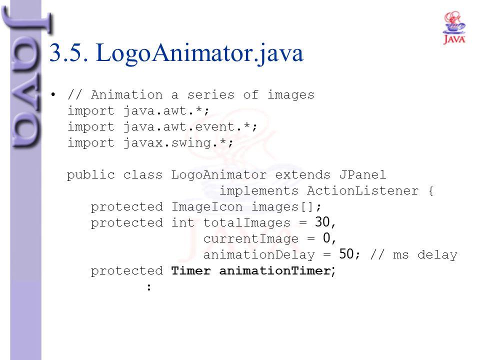 3.5. LogoAnimator.java // Animation a series of images import java.awt.*; import java.awt.event.*; import javax.swing.*; public class LogoAnimator ext