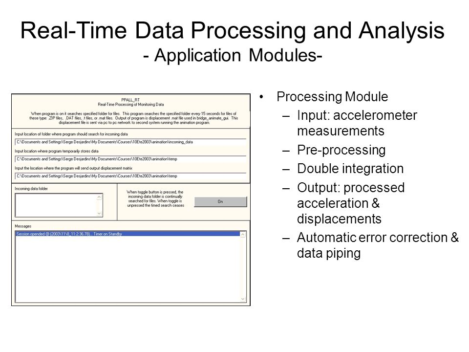 Real-Time Data Processing and Analysis - Application Modules- Processing Module –Input: accelerometer measurements –Pre-processing –Double integration –Output: processed acceleration & displacements –Automatic error correction & data piping