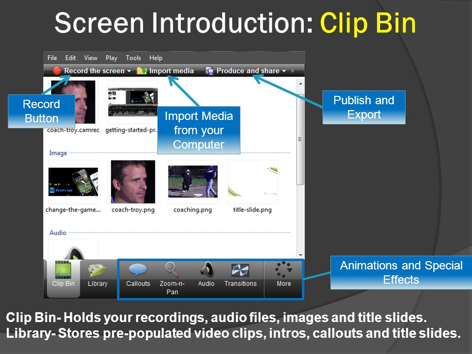 Screen Introduction: Clip Bin Animations and Special Effects Clip Bin- Holds your recordings, audio files, images and title slides.