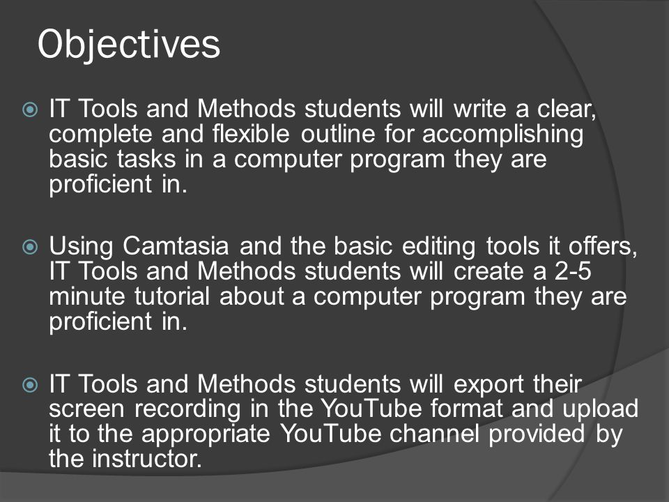 Objectives  IT Tools and Methods students will write a clear, complete and flexible outline for accomplishing basic tasks in a computer program they are proficient in.