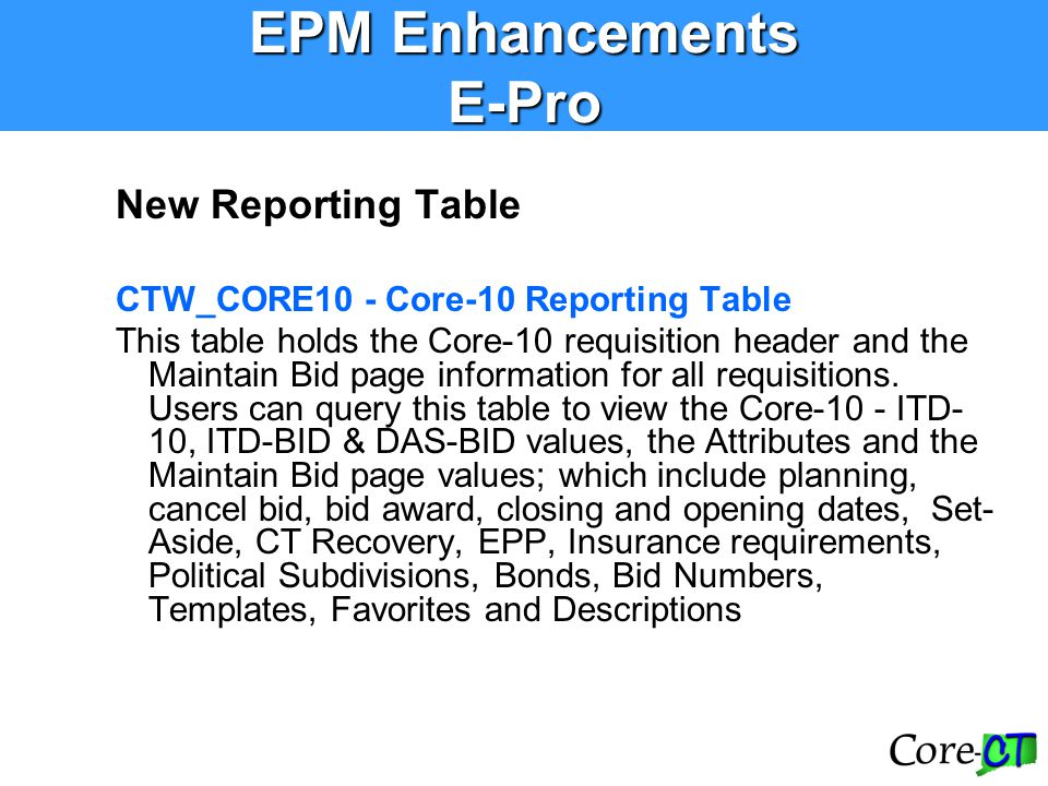 New Reporting Table CTW_CORE10 - Core-10 Reporting Table This table holds the Core-10 requisition header and the Maintain Bid page information for all