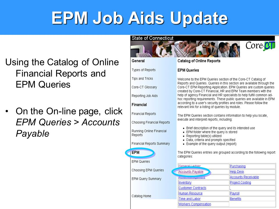 Using the Catalog of Online Financial Reports and EPM Queries On the On-line page, click EPM Queries > Accounts Payable