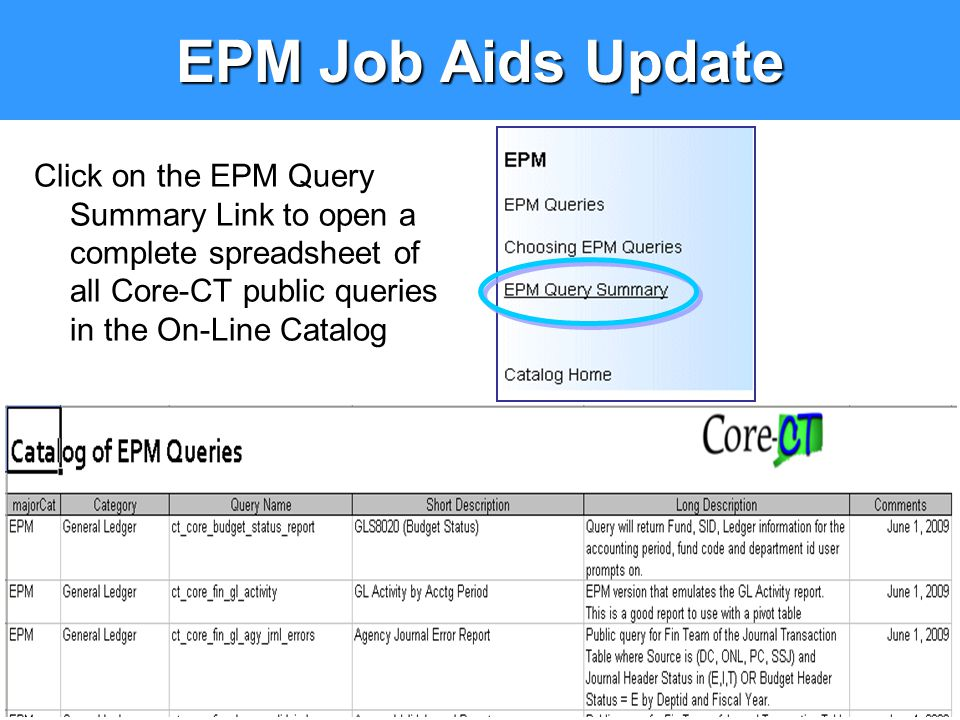 EPM Job Aids Update Click on the EPM Query Summary Link to open a complete spreadsheet of all Core-CT public queries in the On-Line Catalog