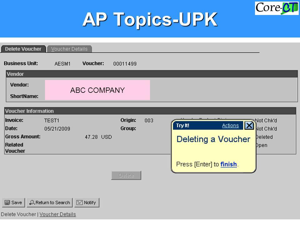 AP Topics-UPK ABC COMPANY