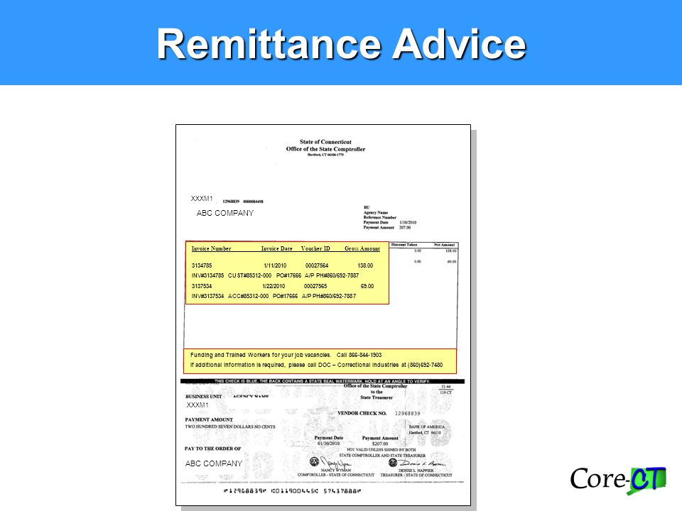 Remittance Advice Funding and Trained Workers for your job vacancies. Call 866-844-1903 If additional information is required, please call DOC – Corre