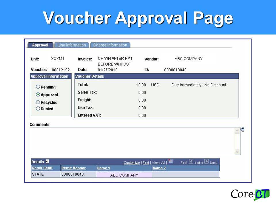 Voucher Approval Page XXXM1 ABC COMPANY