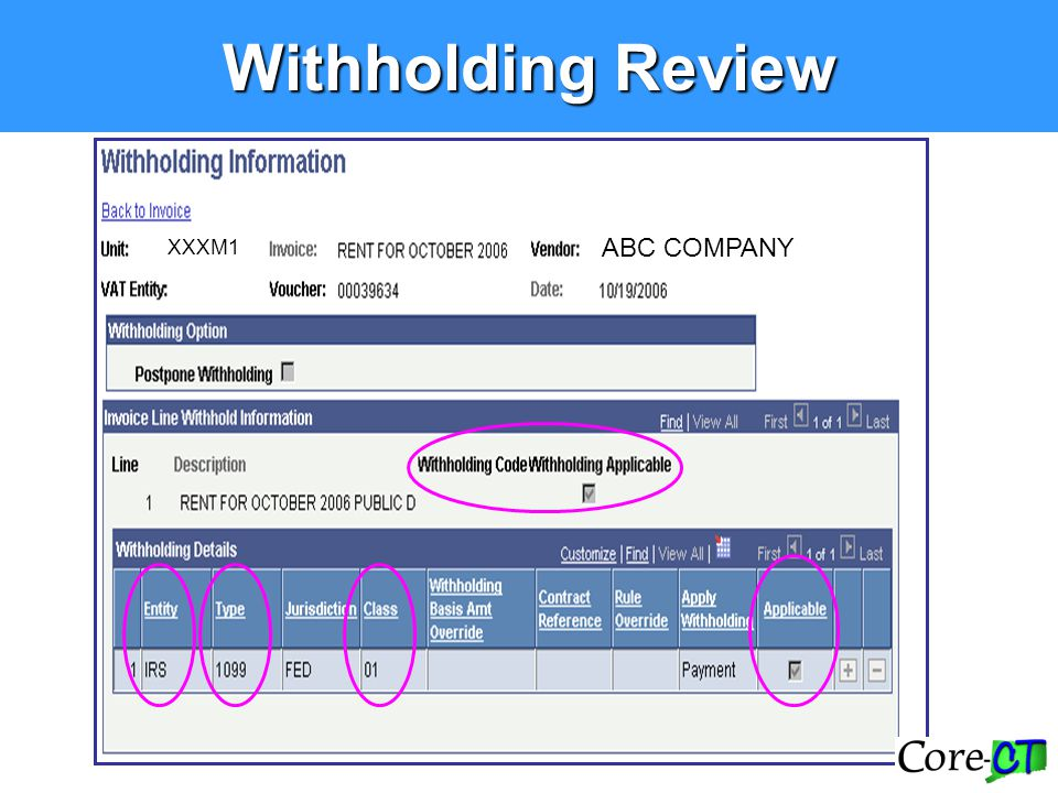 Withholding Review ABC COMPANY XXXM1