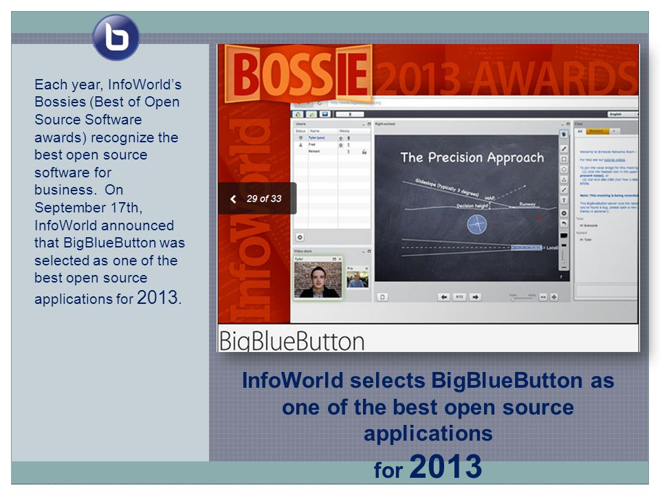 InfoWorld selects BigBlueButton as one of the best open source applications for 2013 Each year, InfoWorld's Bossies (Best of Open Source Software awards) recognize the best open source software for business.