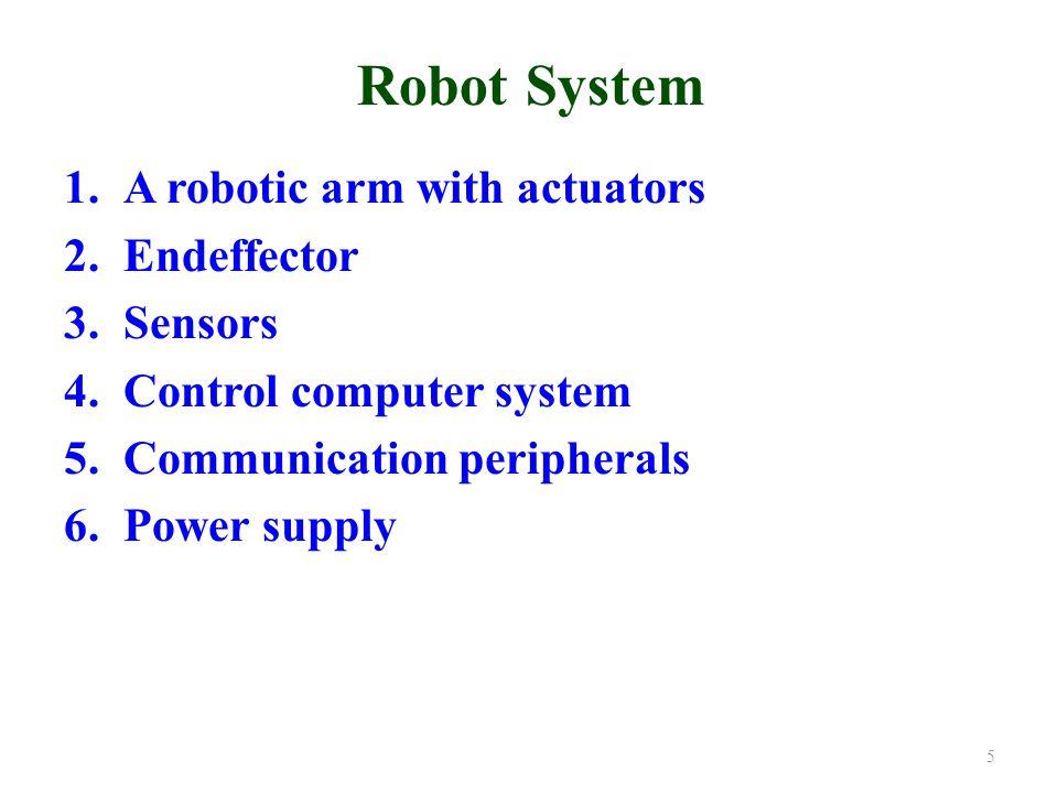 Classification Based on Geometric Configuration of the Arm 1.Cartesian coordinate robots 2.Polar coordinate robots 3.Cylindrical robots 4.Articulated or Jointed arm robots 5.Pendulum robots 6.Spine robots 7.Multiple arm robots 16