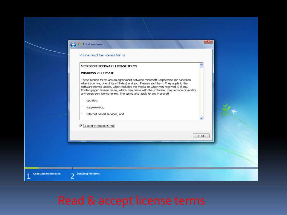 Click custom For install clean of windows