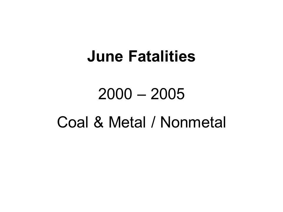 June Fatalities 2000 – 2005 Coal & Metal / Nonmetal