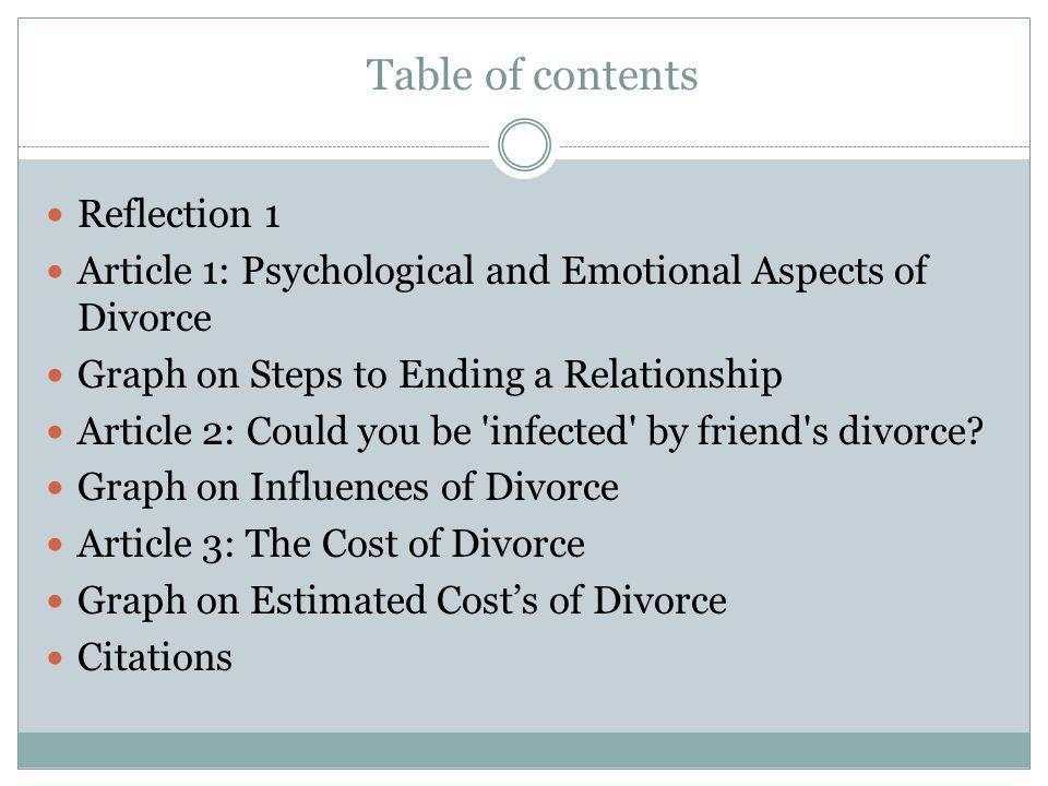 Table of contents Reflection 1 Article 1: Psychological and Emotional Aspects of Divorce Graph on Steps to Ending a Relationship Article 2: Could you