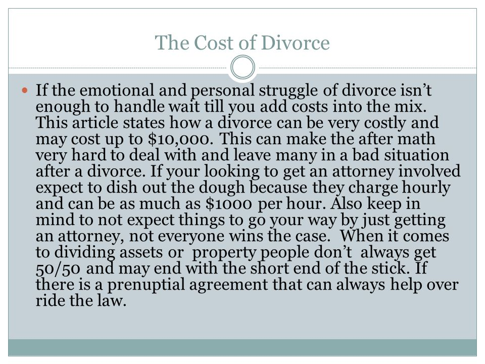 Estimated Cost's to Divorce