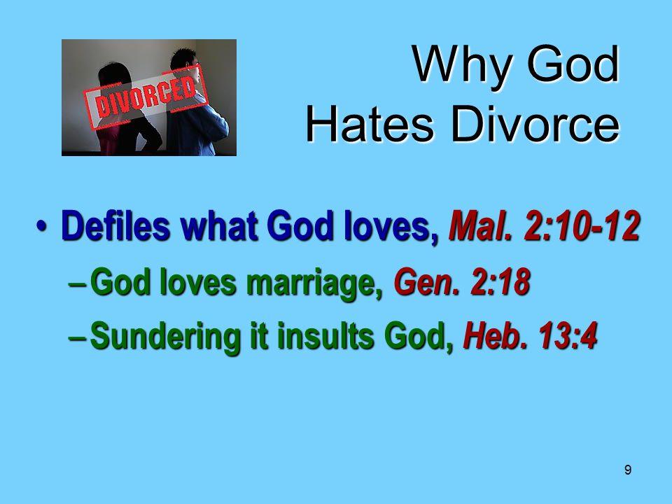 9 Why God Hates Divorce Defiles what God loves, Mal.