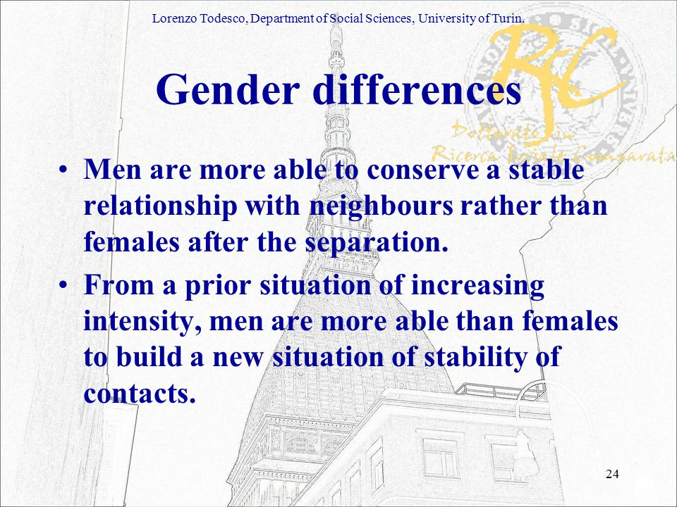 24 Gender differences Men are more able to conserve a stable relationship with neighbours rather than females after the separation.