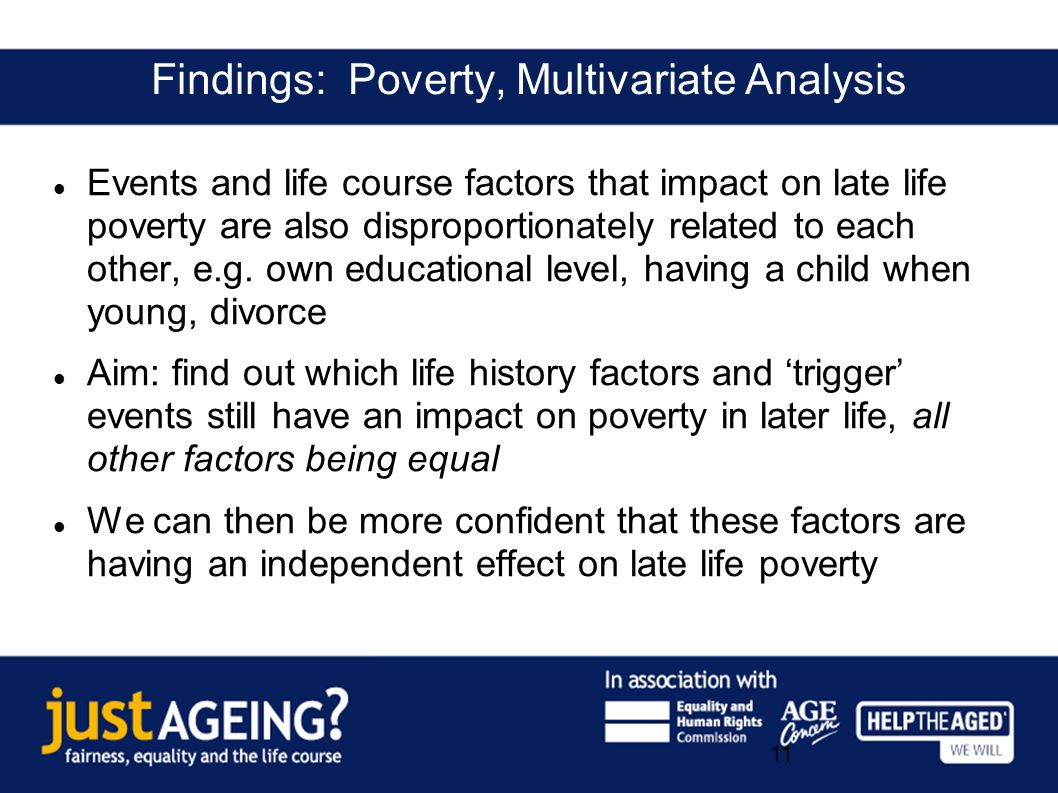 Data: English Longitudinal Study of Ageing (ELSA) Events and life course factors that impact on late life poverty are also disproportionately related to each other, e.g.