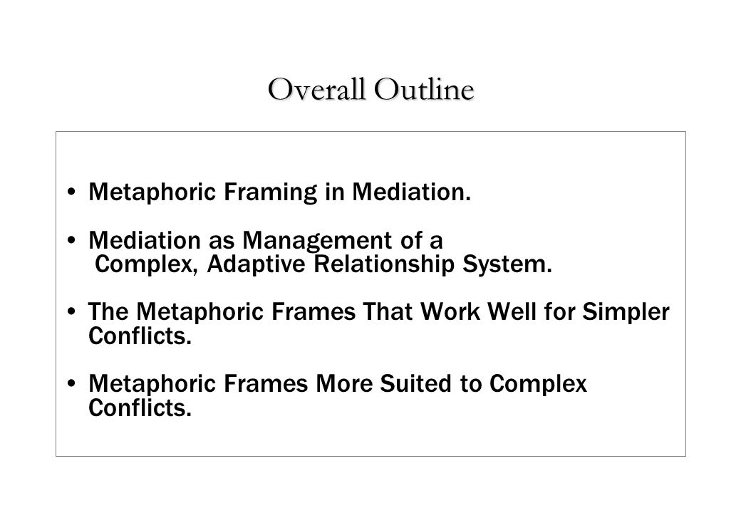 Overall Outline Metaphoric Framing in Mediation.