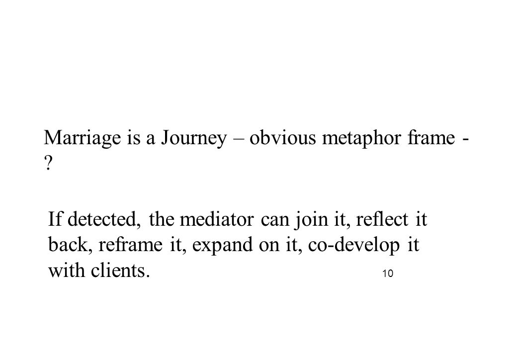 Marriage is a Journey – obvious metaphor frame - .