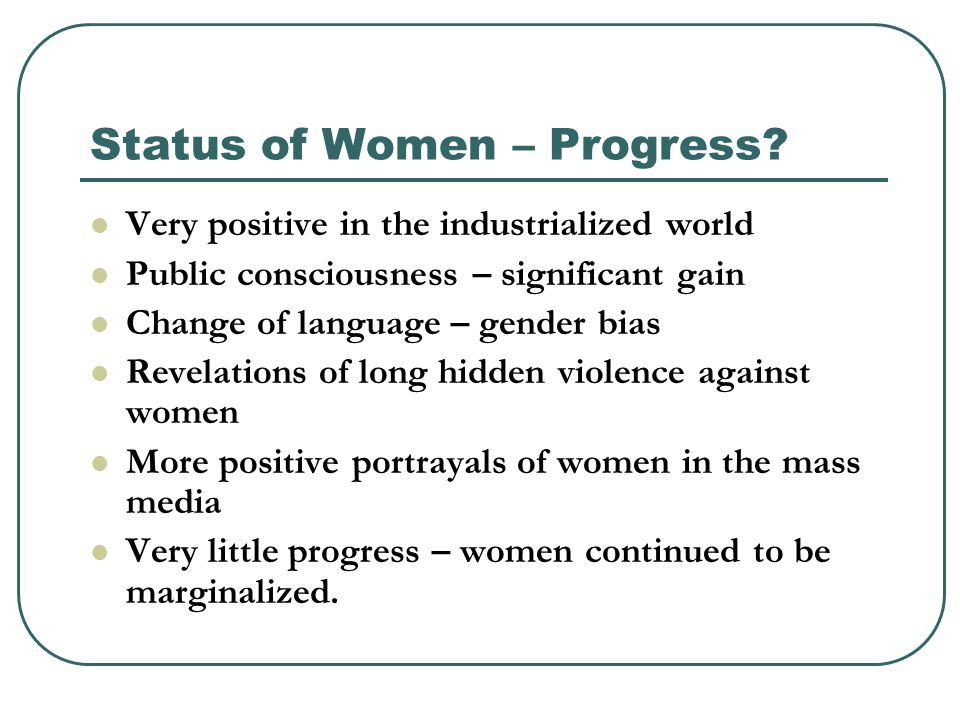 Status of Women – Progress.