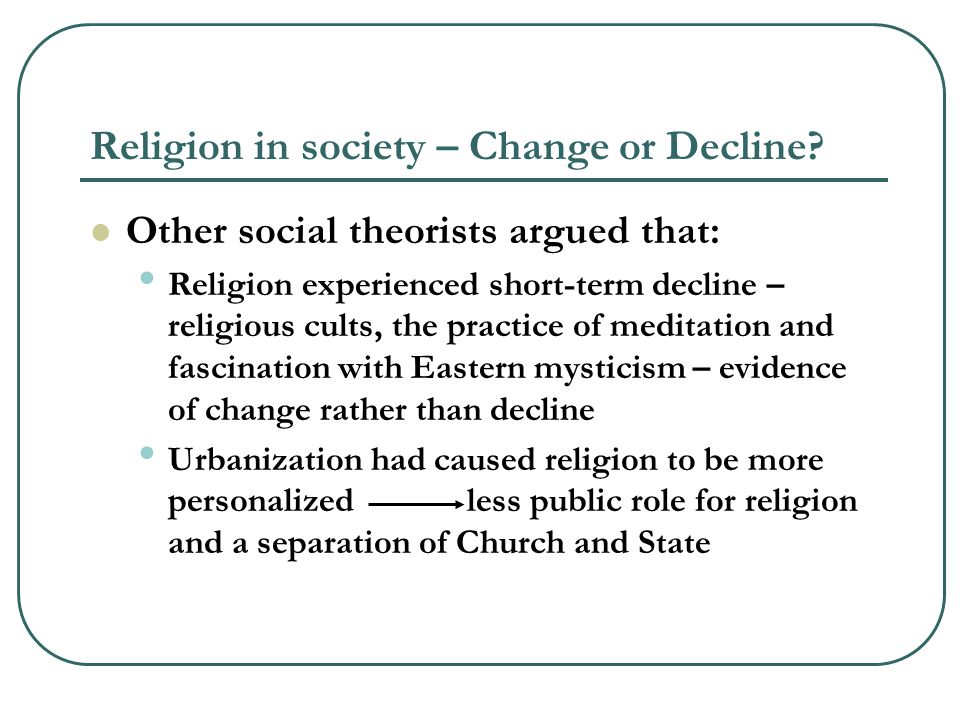 Religion in society – Change or Decline.