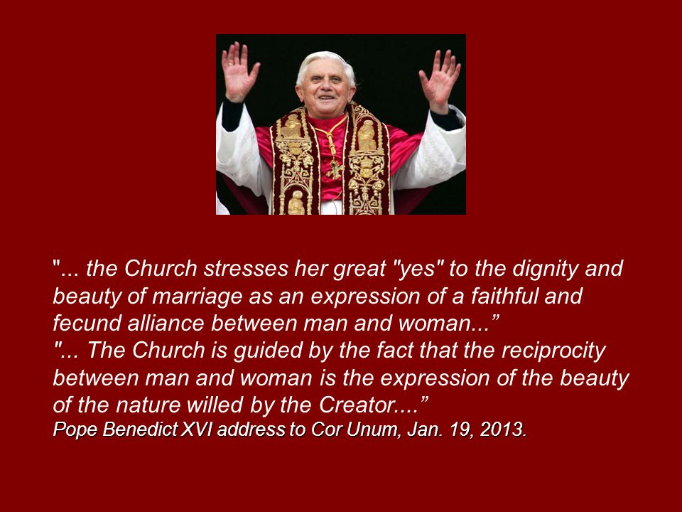 Pope Benedict XVI address to Cor Unum, Jan. 19, 2013.