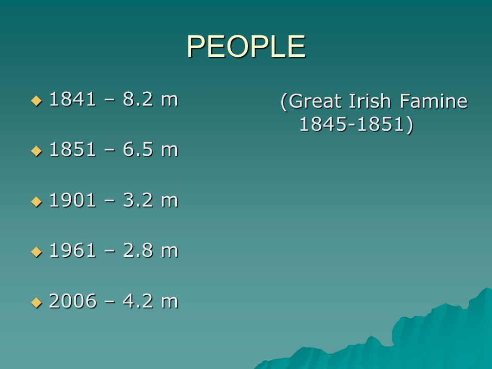 PEOPLE  1841 – 8.2 m  1851 – 6.5 m  1901 – 3.2 m  1961 – 2.8 m  2006 – 4.2 m (Great Irish Famine 1845-1851)