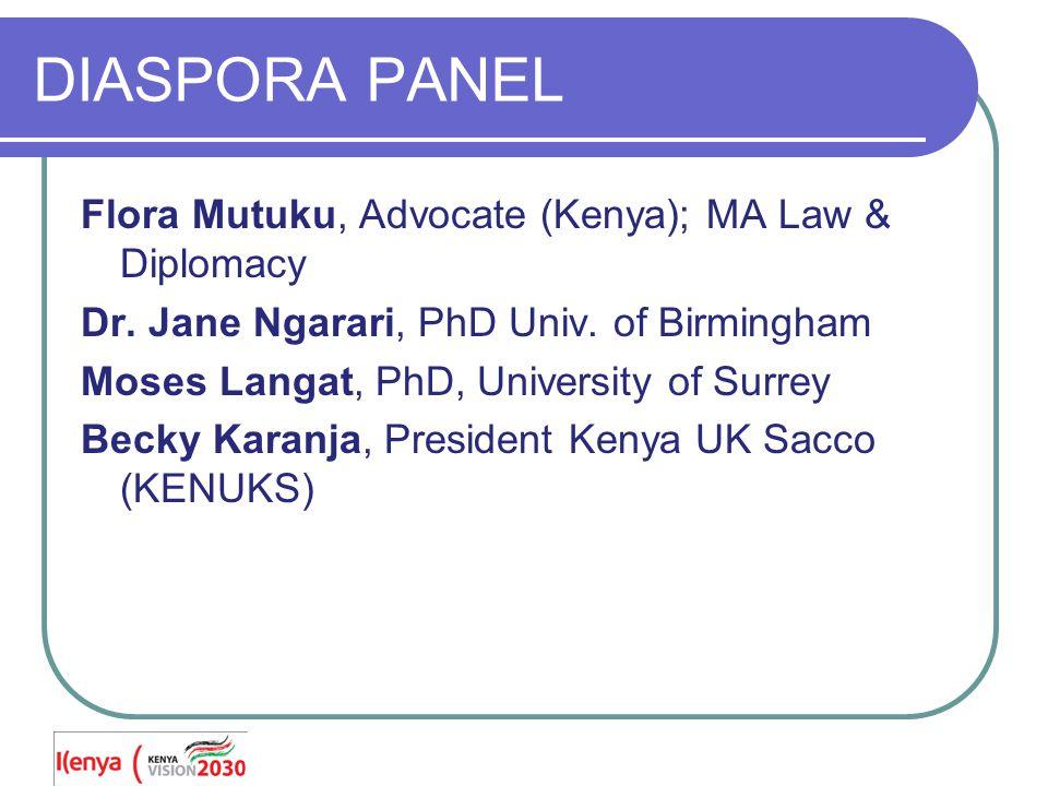 DIASPORA PANEL Flora Mutuku, Advocate (Kenya); MA Law & Diplomacy Dr.