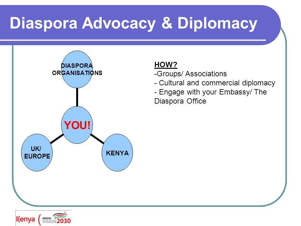 Diaspora Advocacy & Diplomacy YOU. DIASPORA ORGANISATIONS KENYA UK/ EUROPE HOW.