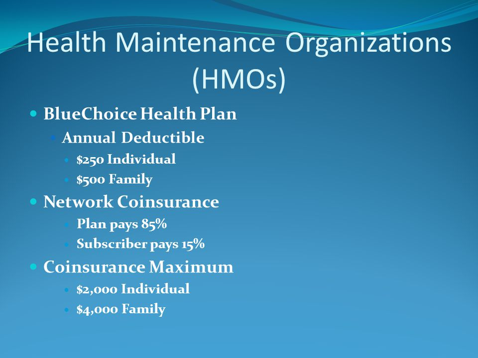Health Maintenance Organizations (HMOs) BlueChoice Health Plan Annual Deductible $250 Individual $500 Family Network Coinsurance Plan pays 85% Subscri
