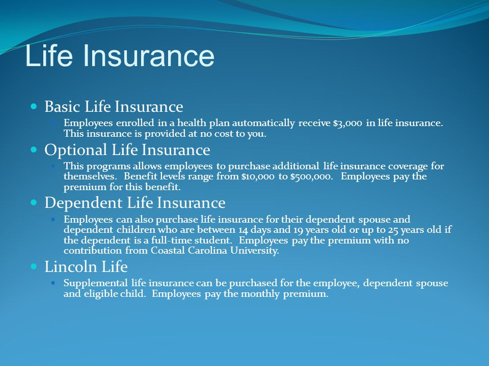 Life Insurance Basic Life Insurance Employees enrolled in a health plan automatically receive $3,000 in life insurance. This insurance is provided at
