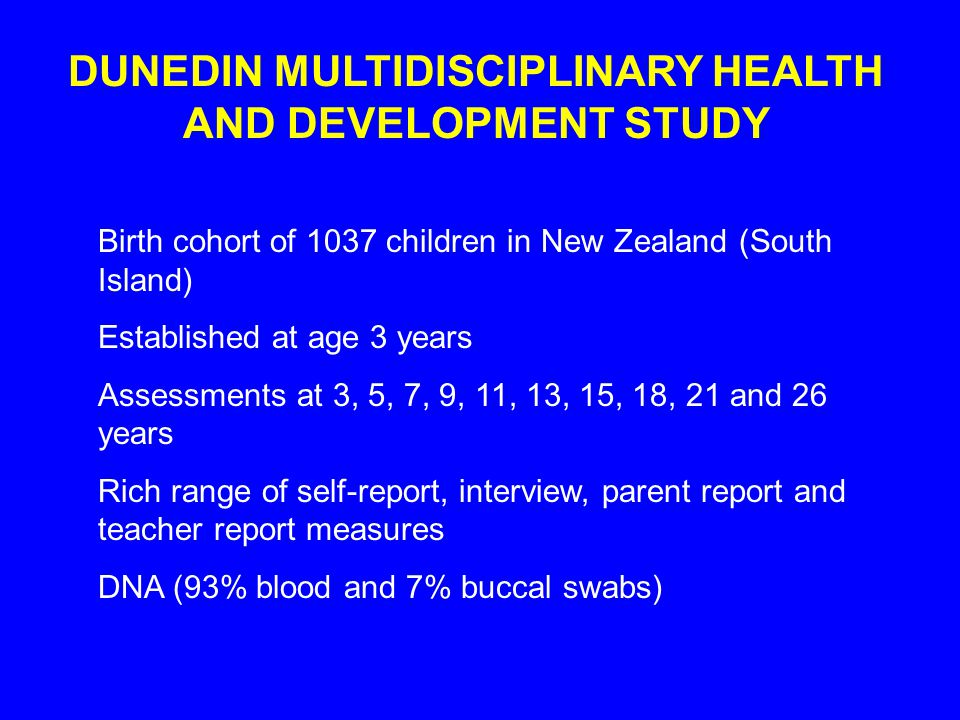 DUNEDIN MULTIDISCIPLINARY HEALTH AND DEVELOPMENT STUDY Birth cohort of 1037 children in New Zealand (South Island) Established at age 3 years Assessments at 3, 5, 7, 9, 11, 13, 15, 18, 21 and 26 years Rich range of self-report, interview, parent report and teacher report measures DNA (93% blood and 7% buccal swabs)