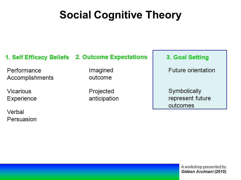A workshop presented by Gideon Arulmani (2010) Social Cognitive Theory 1.