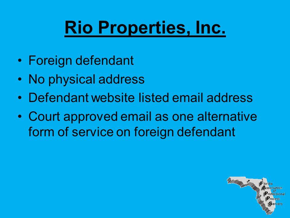 Rio Properties, Inc.
