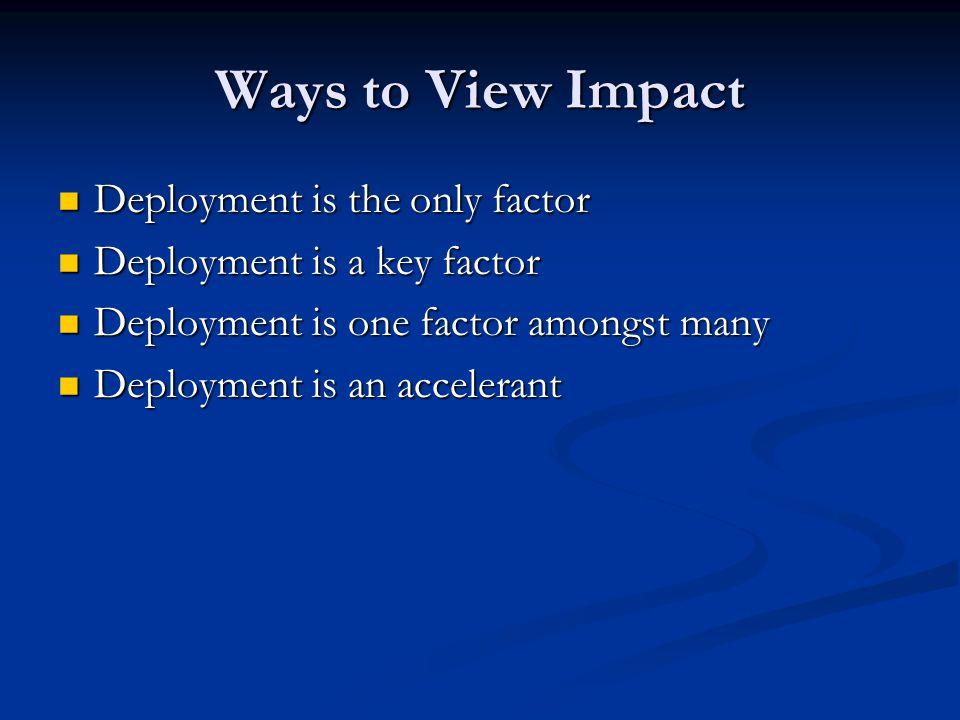 Deployment is an Accelerant Other factors Other factors 1.