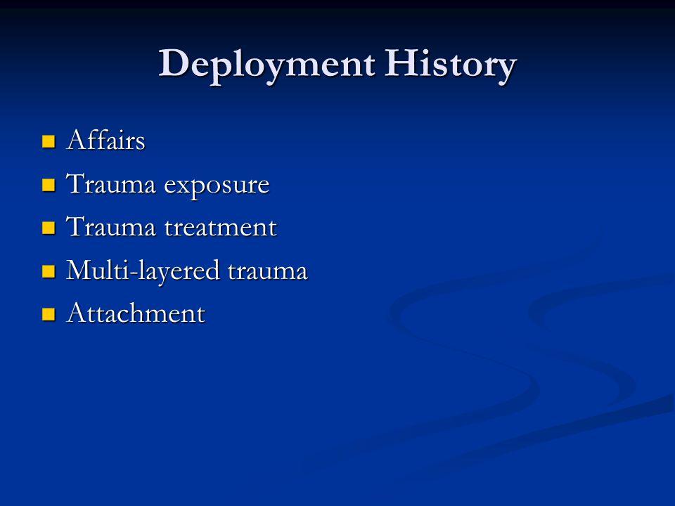 Deployment History Affairs Affairs Trauma exposure Trauma exposure Trauma treatment Trauma treatment Multi-layered trauma Multi-layered trauma Attachm