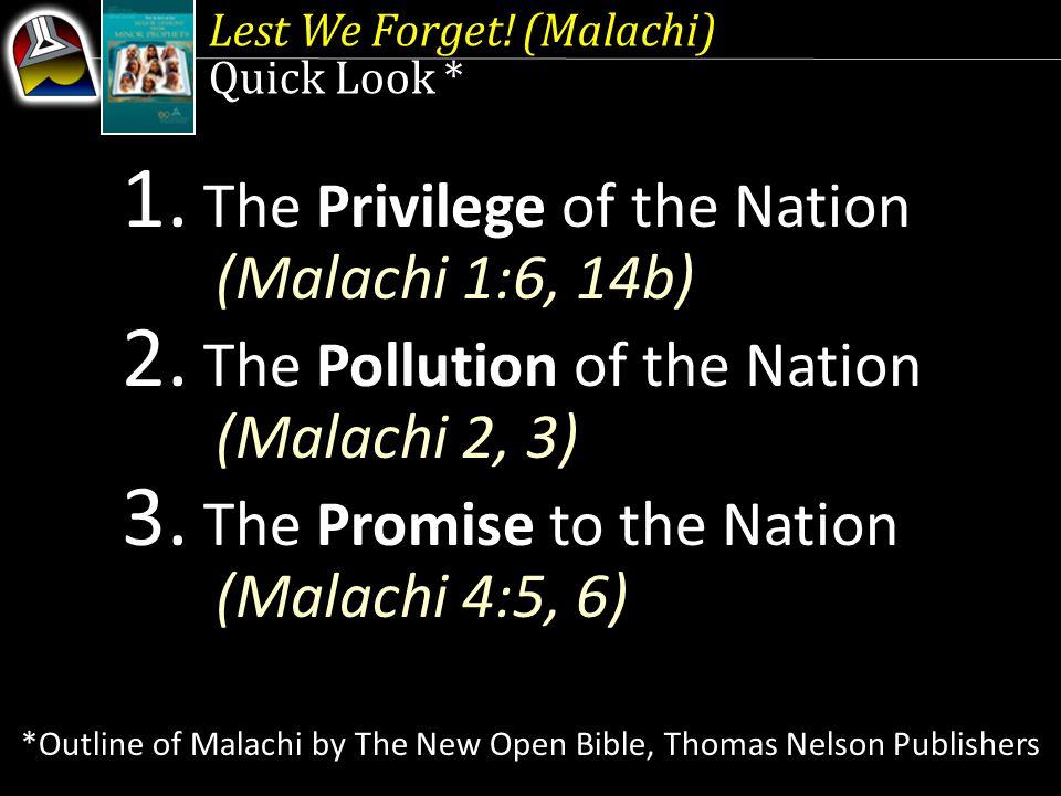 Lest We Forget.(Malachi) 1.