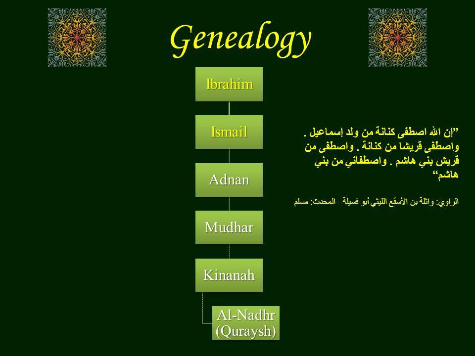 """GenealogyIbrahim Ismail Adnan Mudhar Kinanah Al-Nadhr (Quraysh) """" إن الله اصطفى كنانة من ولد إسماعيل. واصطفى قريشا من كنانة. واصطفى من قريش بني هاشم."""