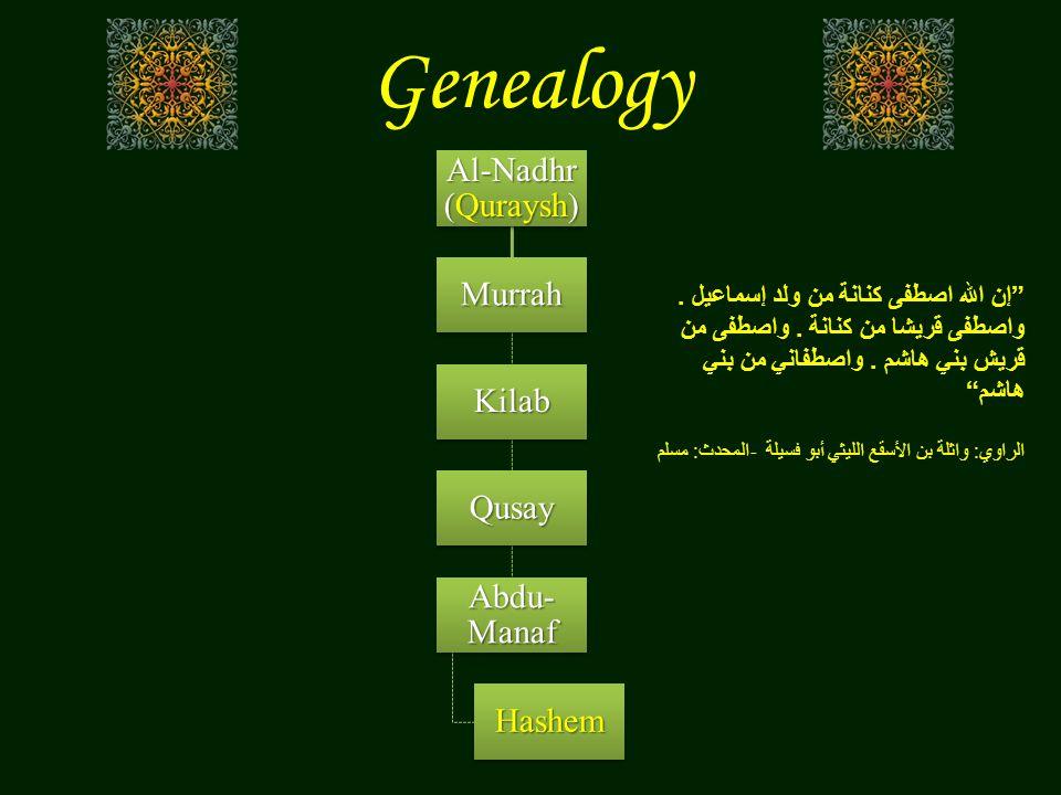 "Genealogy Al-Nadhr (Quraysh) Murrah Kilab Qusay Abdu- Manaf Hashem "" إن الله اصطفى كنانة من ولد إسماعيل. واصطفى قريشا من كنانة. واصطفى من قريش بني هاش"