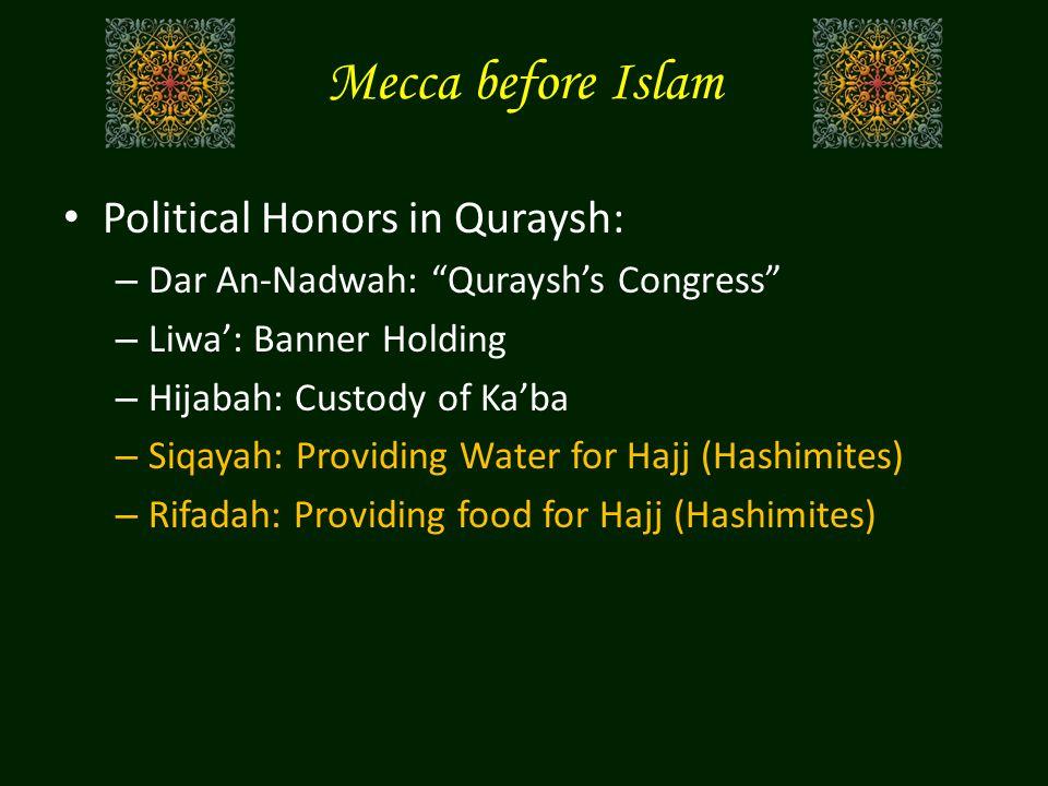"Mecca before Islam Political Honors in Quraysh: – Dar An-Nadwah: ""Quraysh's Congress"" – Liwa': Banner Holding – Hijabah: Custody of Ka'ba – Siqayah: P"