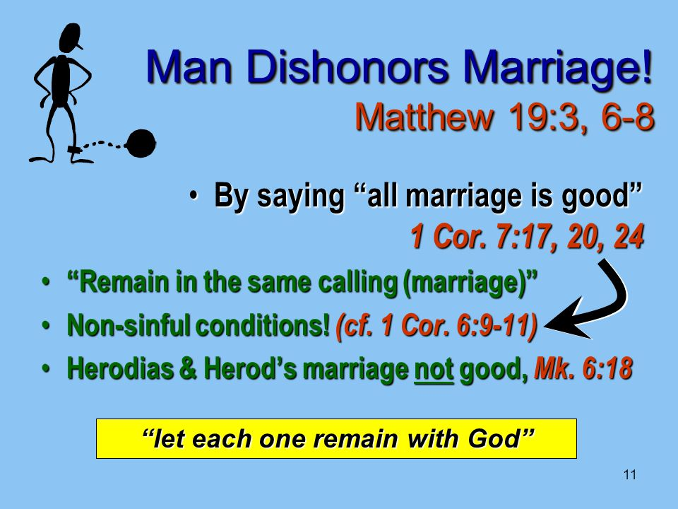 11 Man Dishonors Marriage. Matthew 19:3, 6-8 By saying all marriage is good 1 Cor.