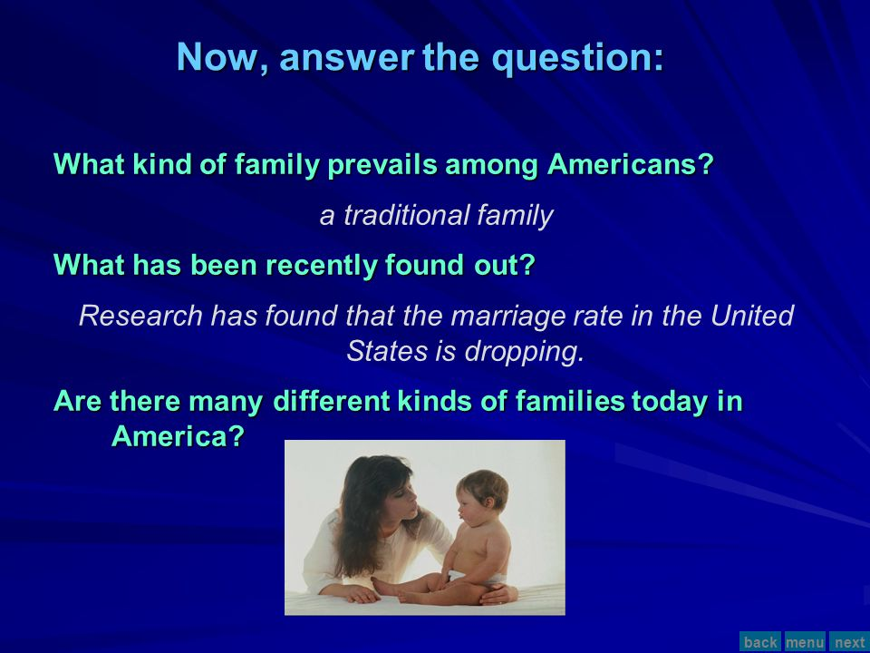 Now, answer the question: What kind of family prevails among Americans.