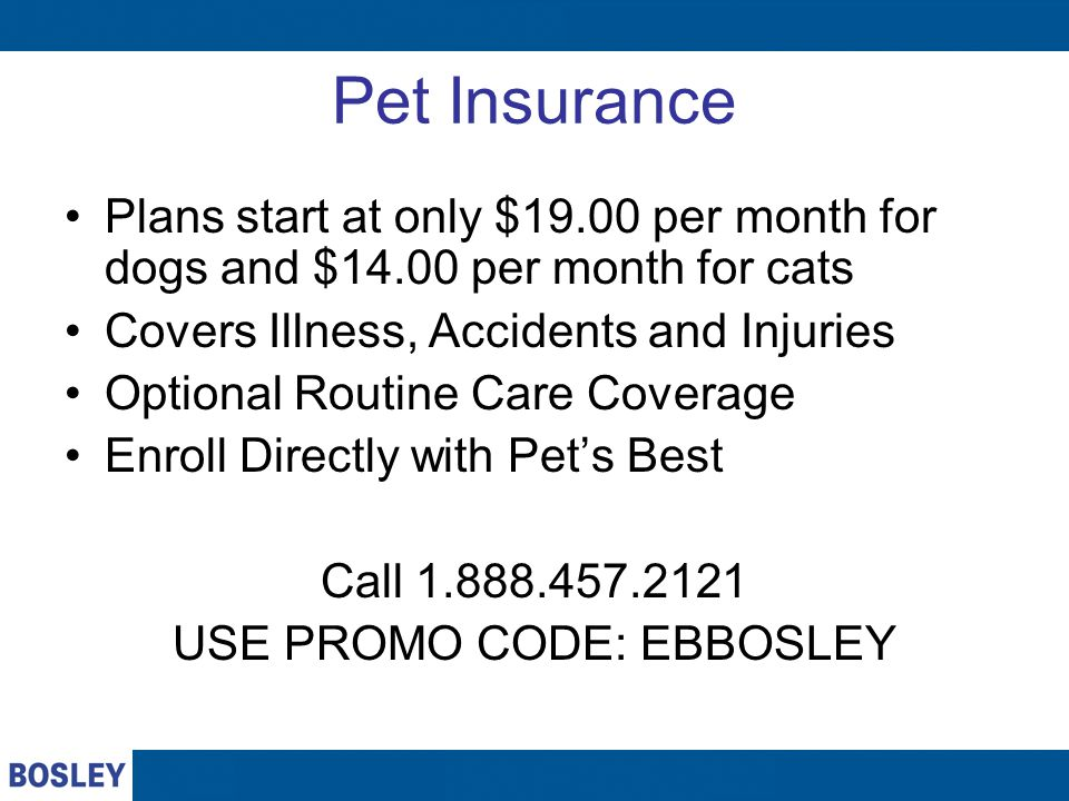 Pet Insurance Plans start at only $19.00 per month for dogs and $14.00 per month for cats Covers Illness, Accidents and Injuries Optional Routine Care Coverage Enroll Directly with Pet's Best Call USE PROMO CODE: EBBOSLEY