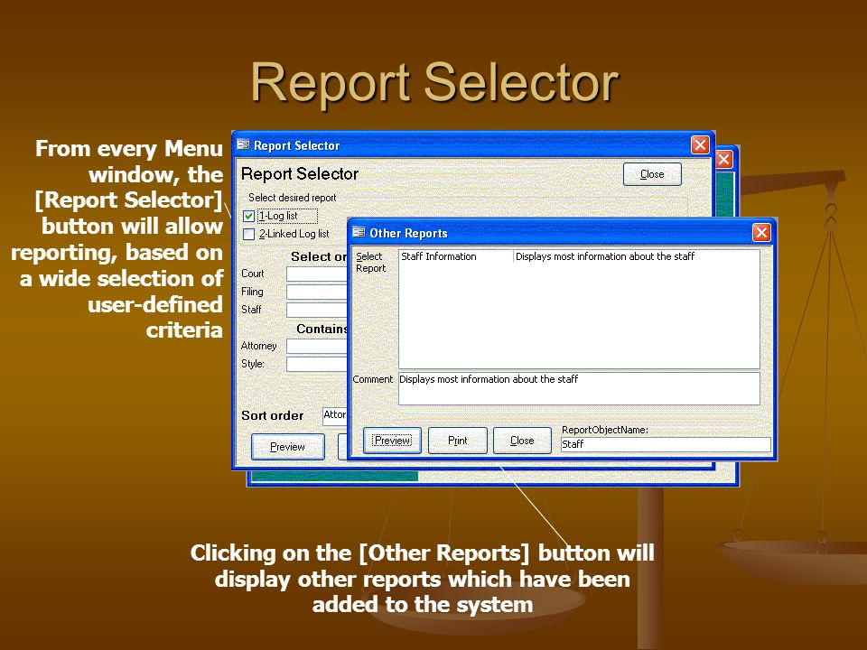 Lists and Reports The Lists and Reports Menu provides listings of data tables in the system