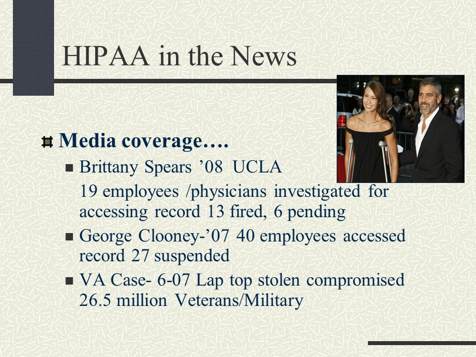HIPAA in the News Media coverage….