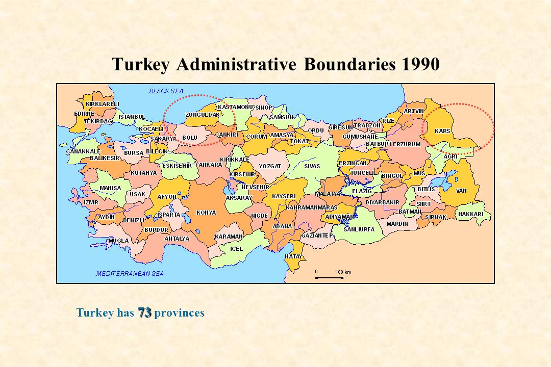 Turkey Administrative Boundaries 1990