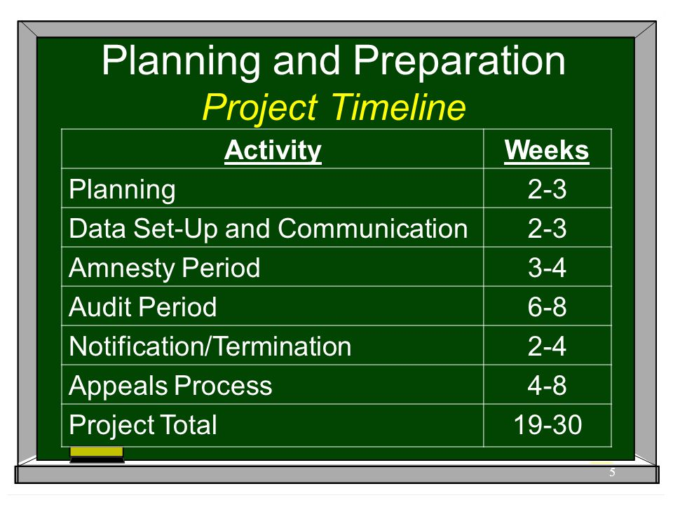 Planning and Preparation Project Timeline 5 ActivityWeeks Planning2-3 Data Set-Up and Communication2-3 Amnesty Period3-4 Audit Period6-8 Notification/