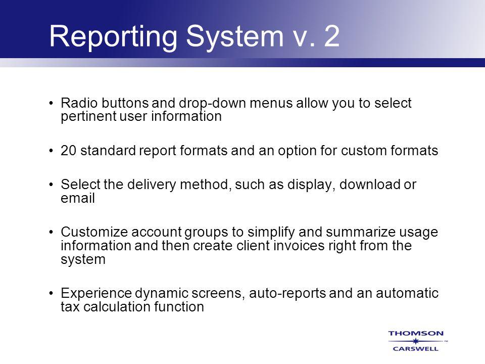 Reporting System v.