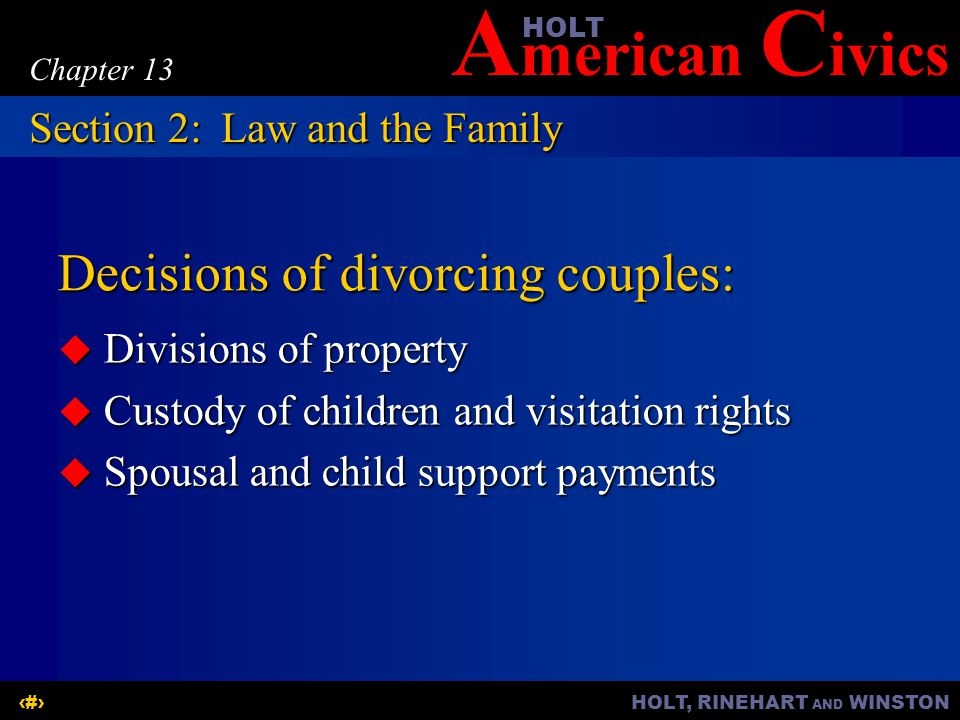 A merican C ivicsHOLT HOLT, RINEHART AND WINSTON10 Chapter 13 Decisions of divorcing couples:  Divisions of property  Custody of children and visita