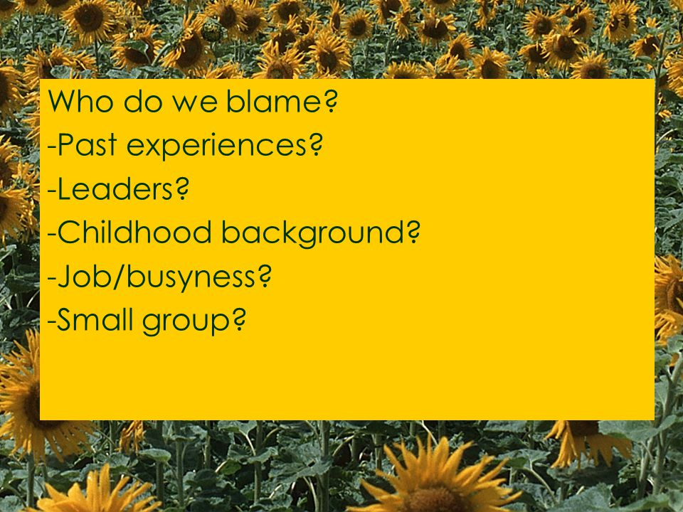 Who do we blame -Past experiences -Leaders -Childhood background -Job/busyness -Small group