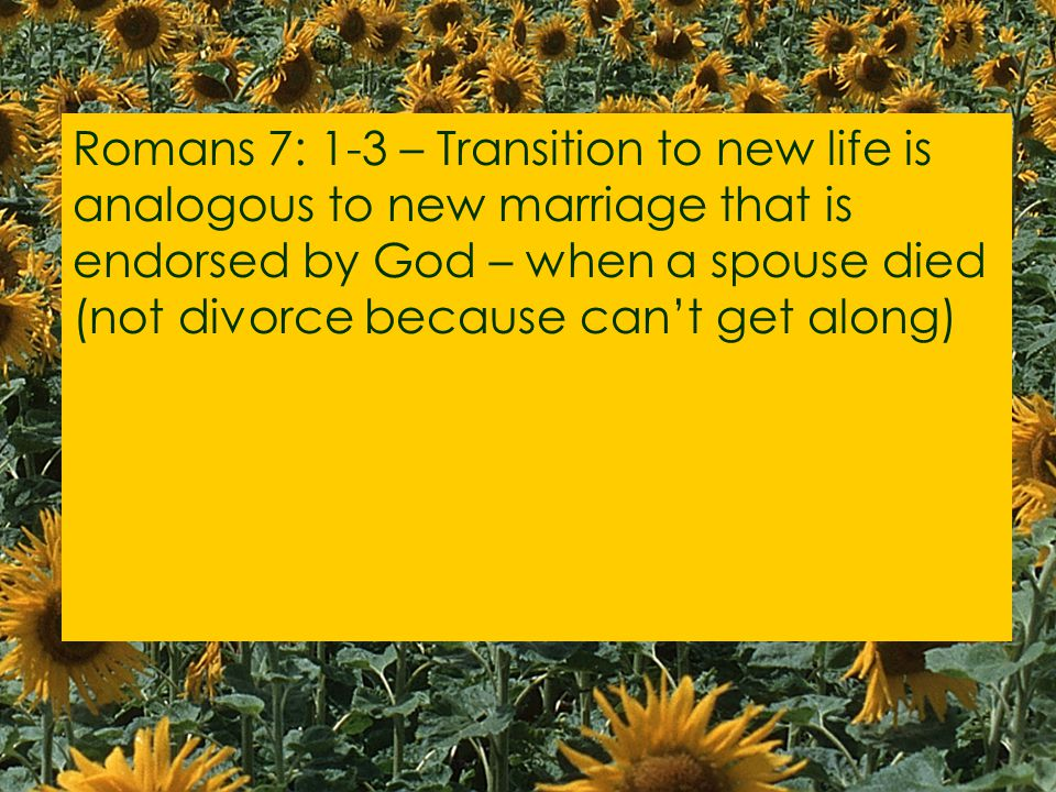 Romans 7: 1-3 – Transition to new life is analogous to new marriage that is endorsed by God – when a spouse died (not divorce because can't get along)